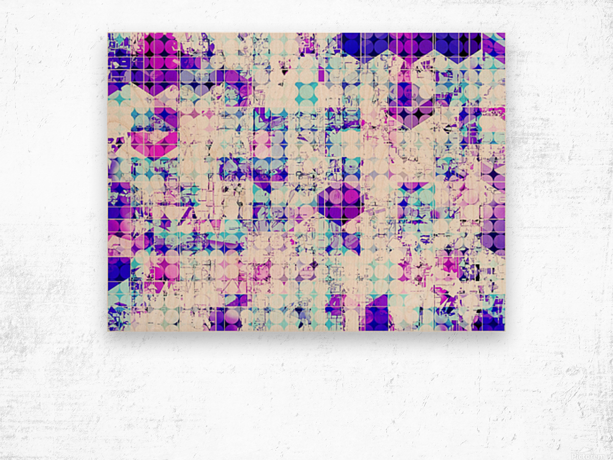 geometric square and circle pattern abstract background in pink blue Wood print