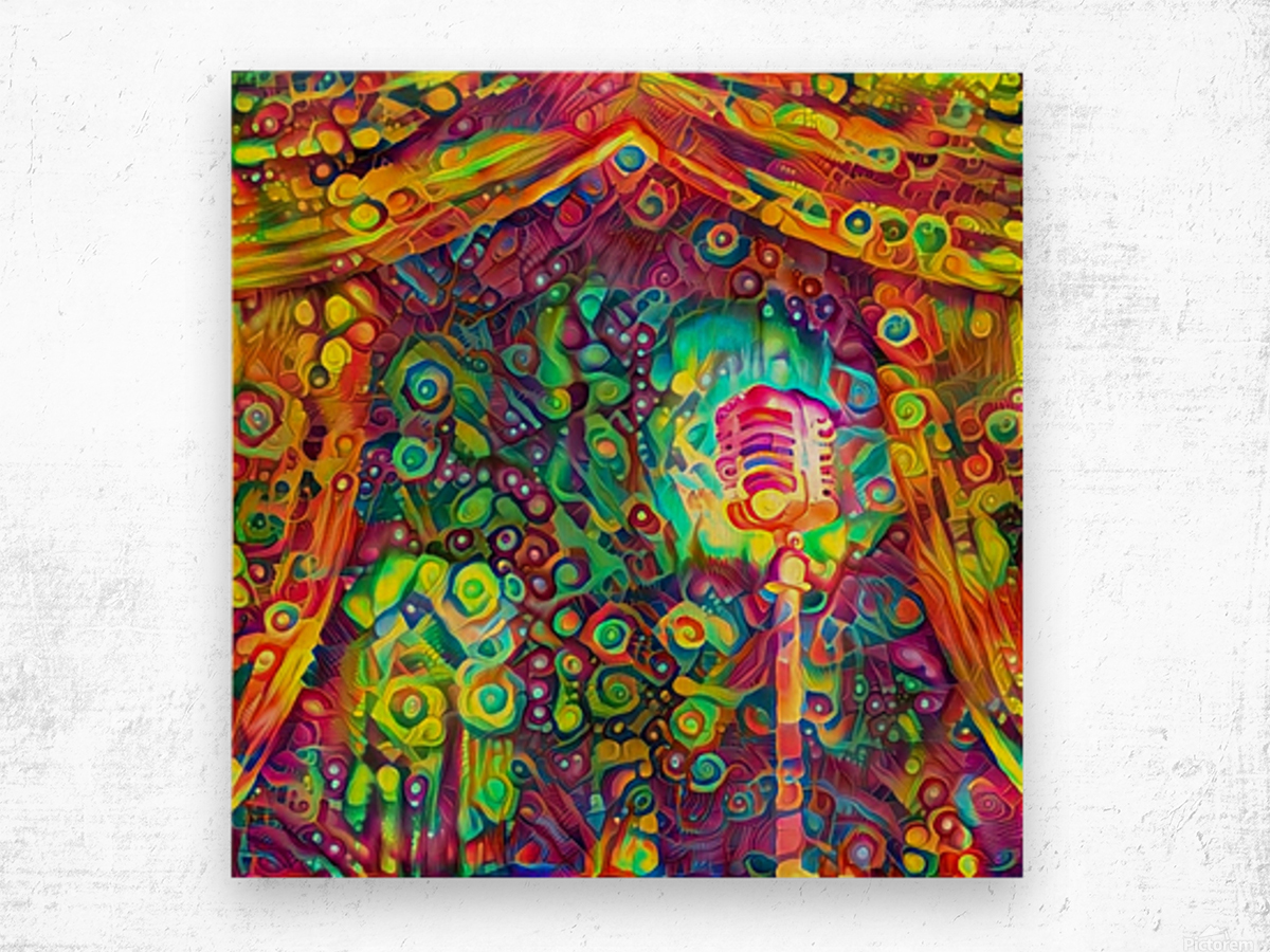 Classic Microphone with Colorful Curtains Wood print