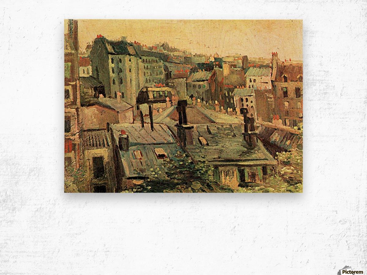 Overlooking the rooftops of Paris by Van Gogh Wood print