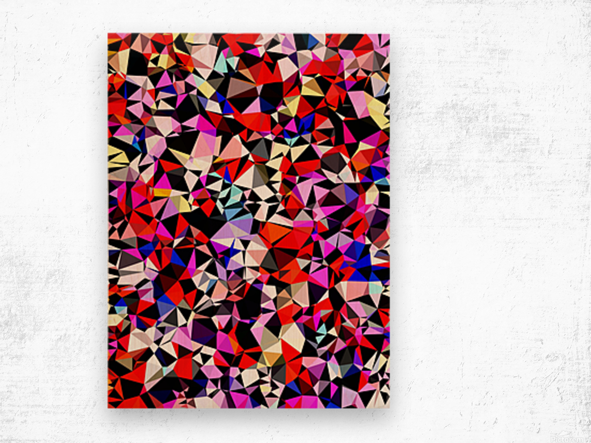geometric triangle pattern abstract in red pink black blue Wood print
