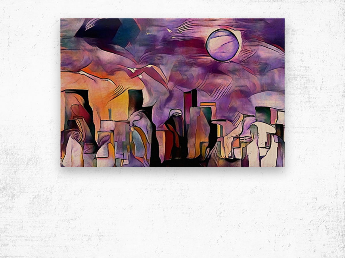 Colorful City Silhouettes Wood print