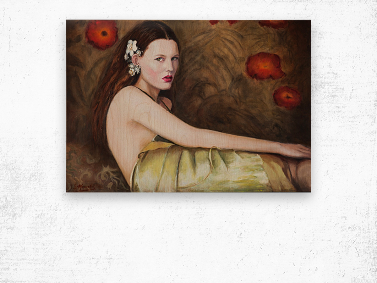 Woman with flowers for all season Wood print