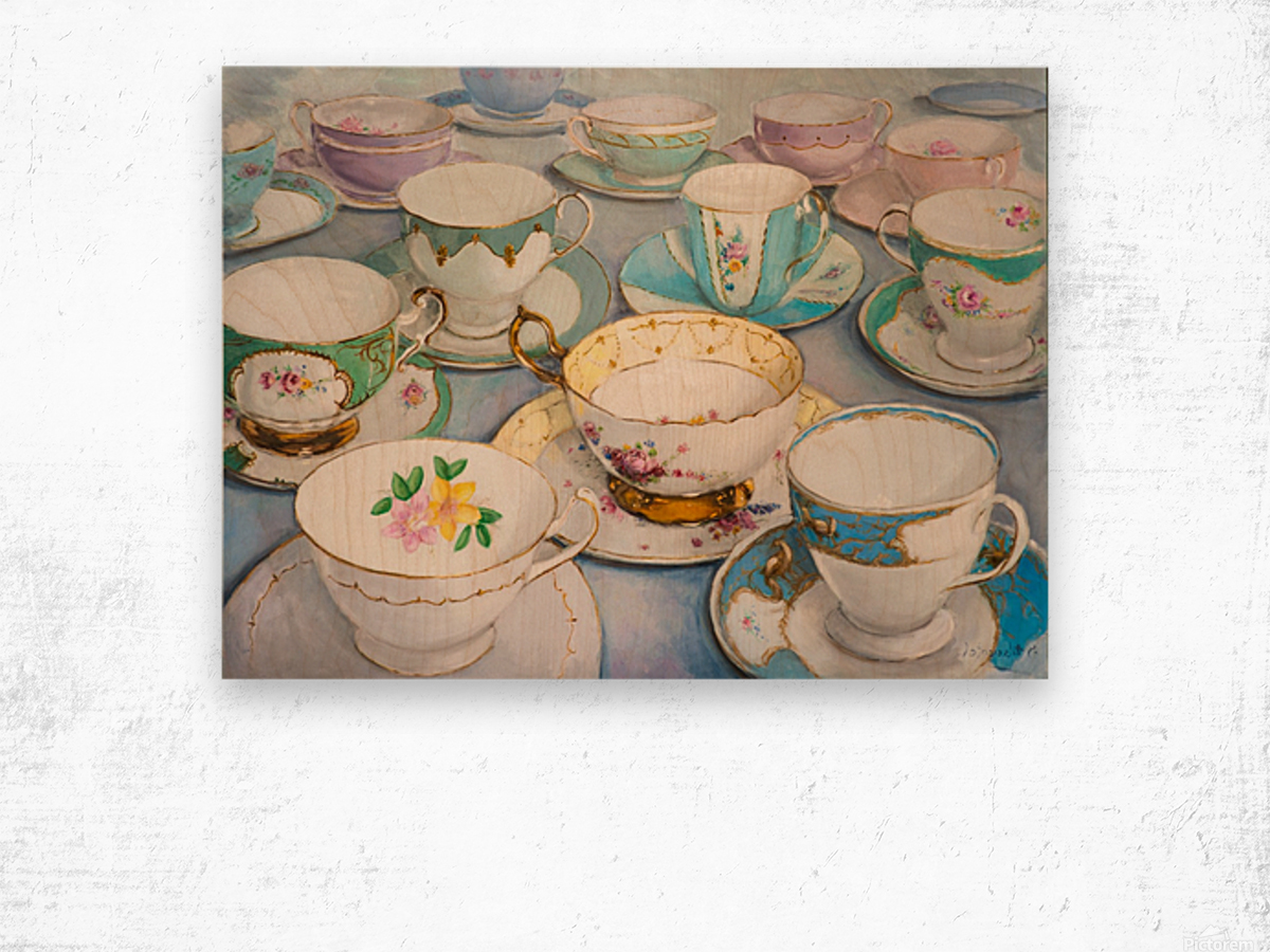 Vintage tea cups 3622x4022  Wood print