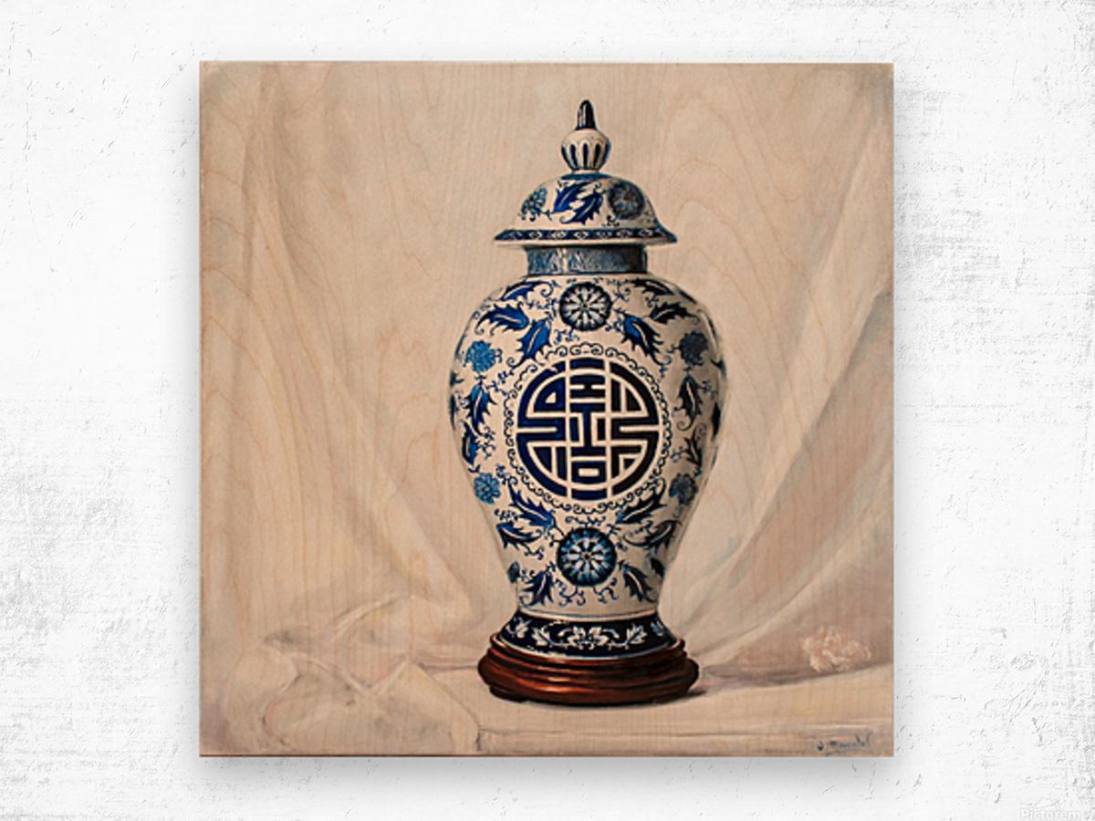 Blue and white vase  Wood print