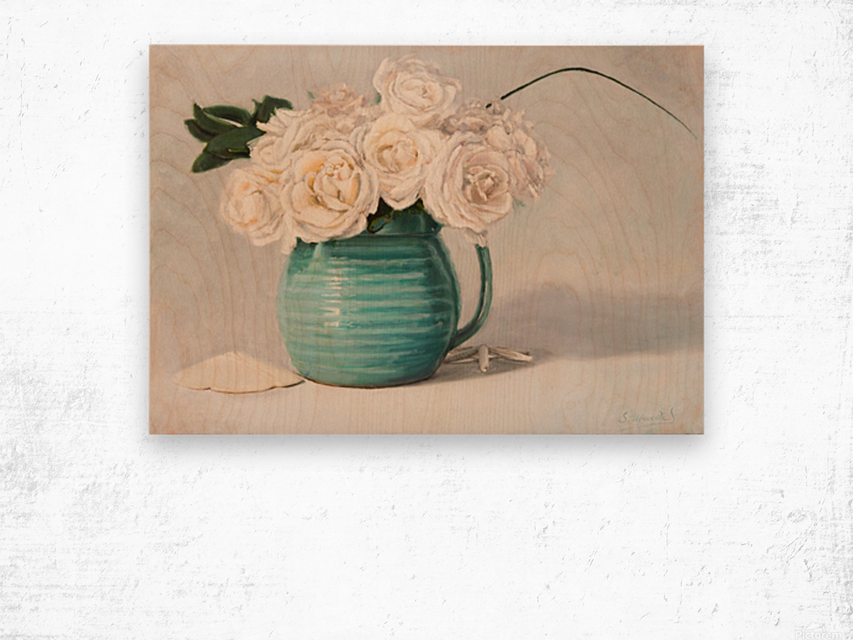 White roses in green pitcher 28 x 40 oil painting landscape 1 Wood print