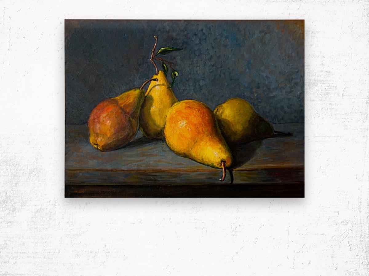 Quatre poires pour Anna  Wood print