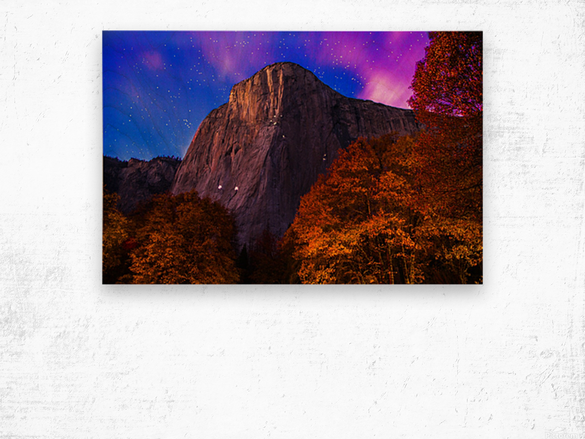 El Capitan Climbers at Night Yosemite National Park Wood print