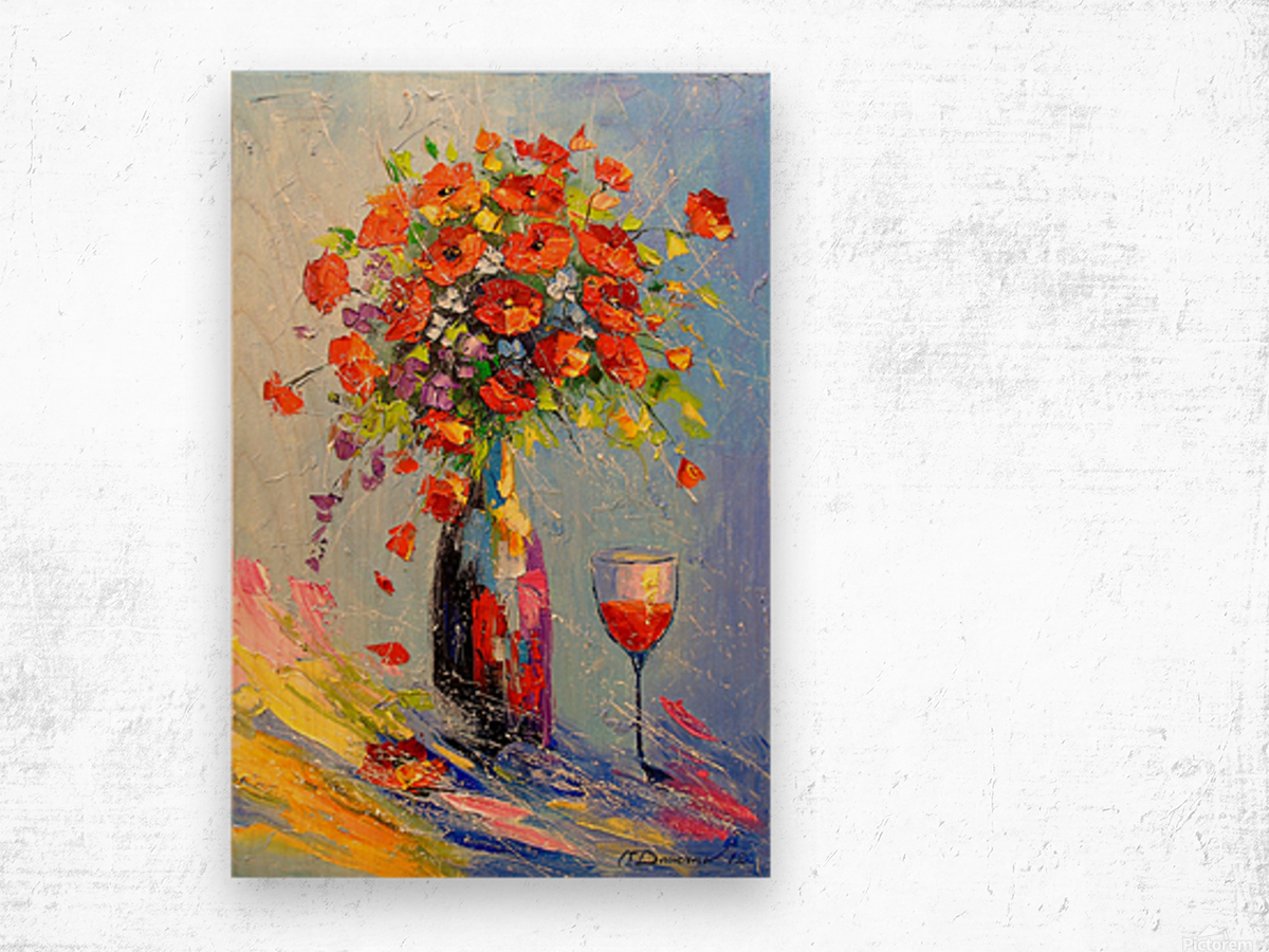 Holiday with a bouquet Wood print