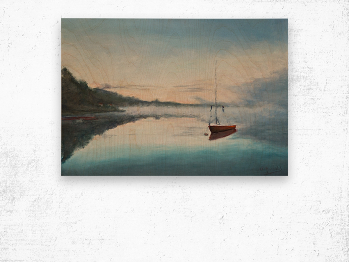 At rest  Au repos   oil painting  waterscape 1 Wood print