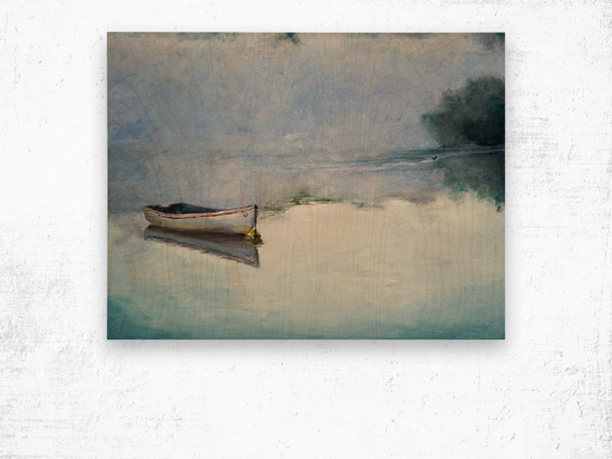Fog on the lake   Brume sur le lac oil painting waterscape 1 Wood print