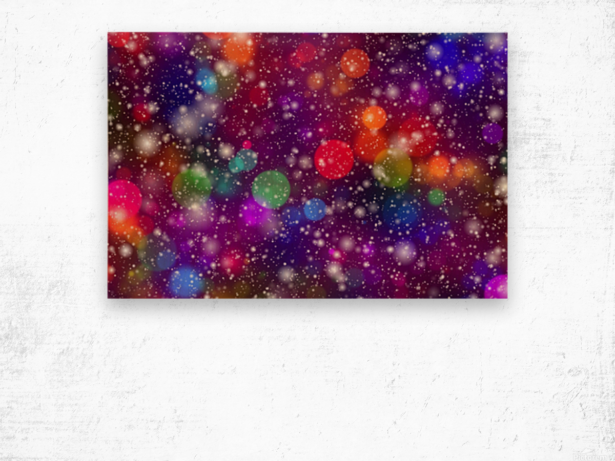 background, abstract, bokeh, lights, decoration, star, party, colorful, confetti, Wood print