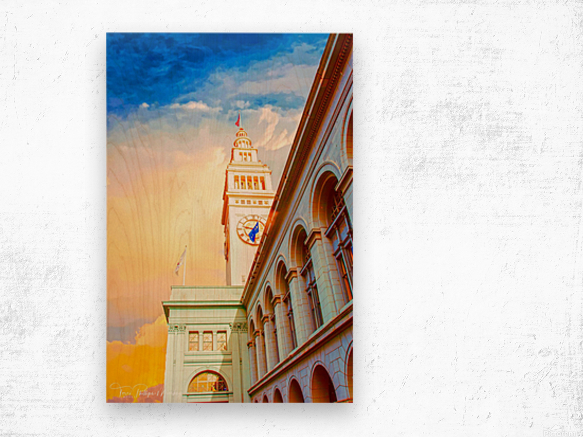 San Francisco Ferry Building Clock Tower By Terri Phillips Mierkey Wood print