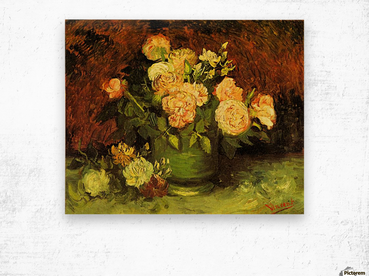 Roses by Van Gogh Wood print