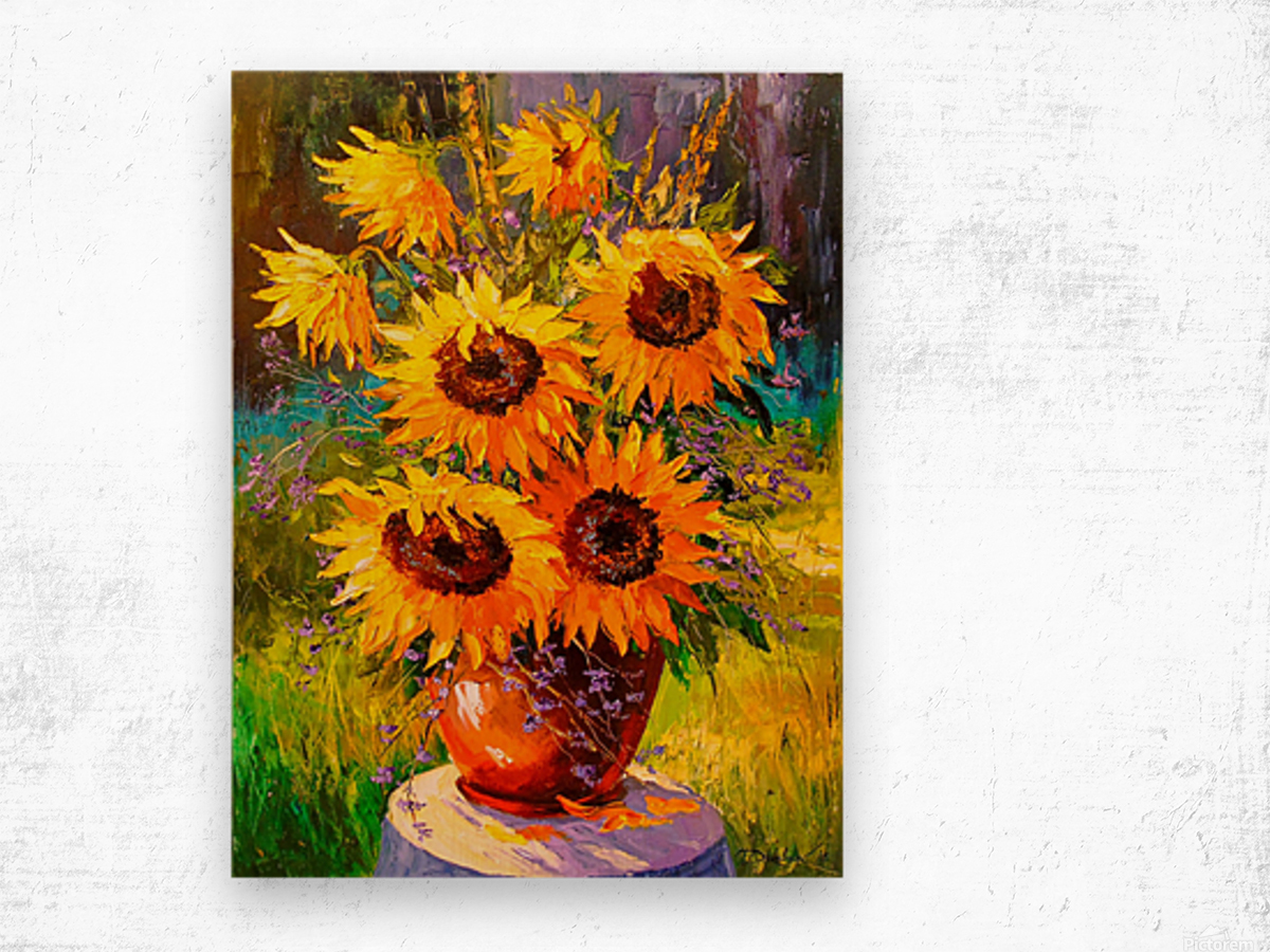 A bouquet of sunflowers Wood print