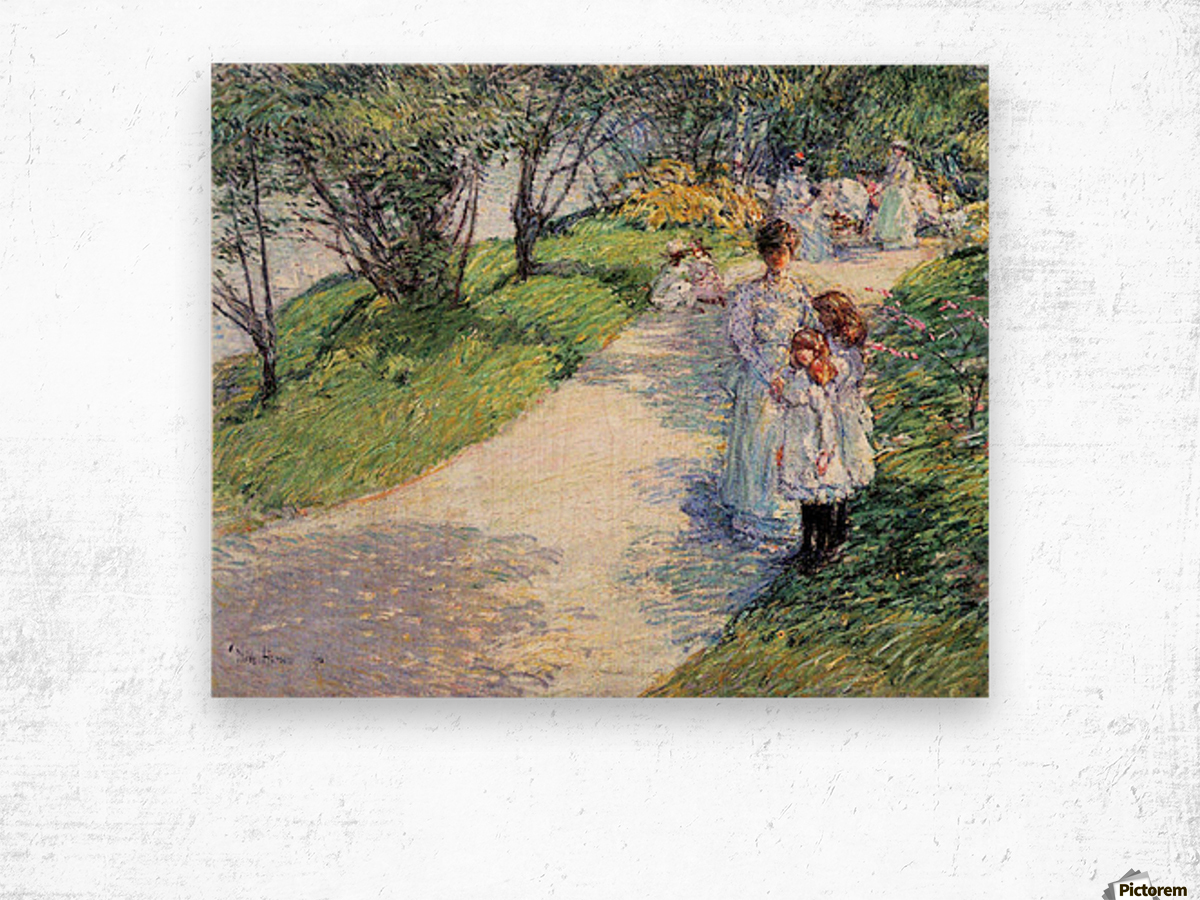 In Central Park by Hassam Wood print