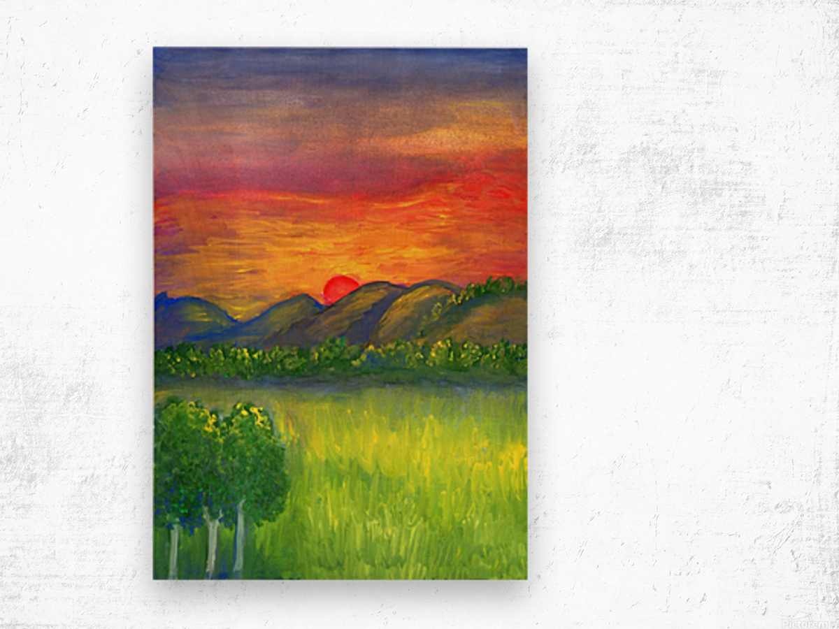 Mystical red sunset Wood print