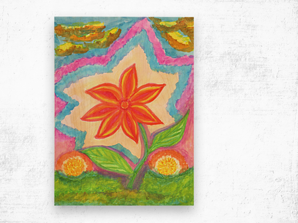 Magic scarlet flower  Wood print