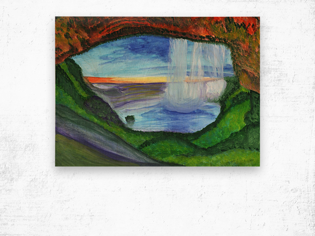 View from the cave to the waterfall Wood print