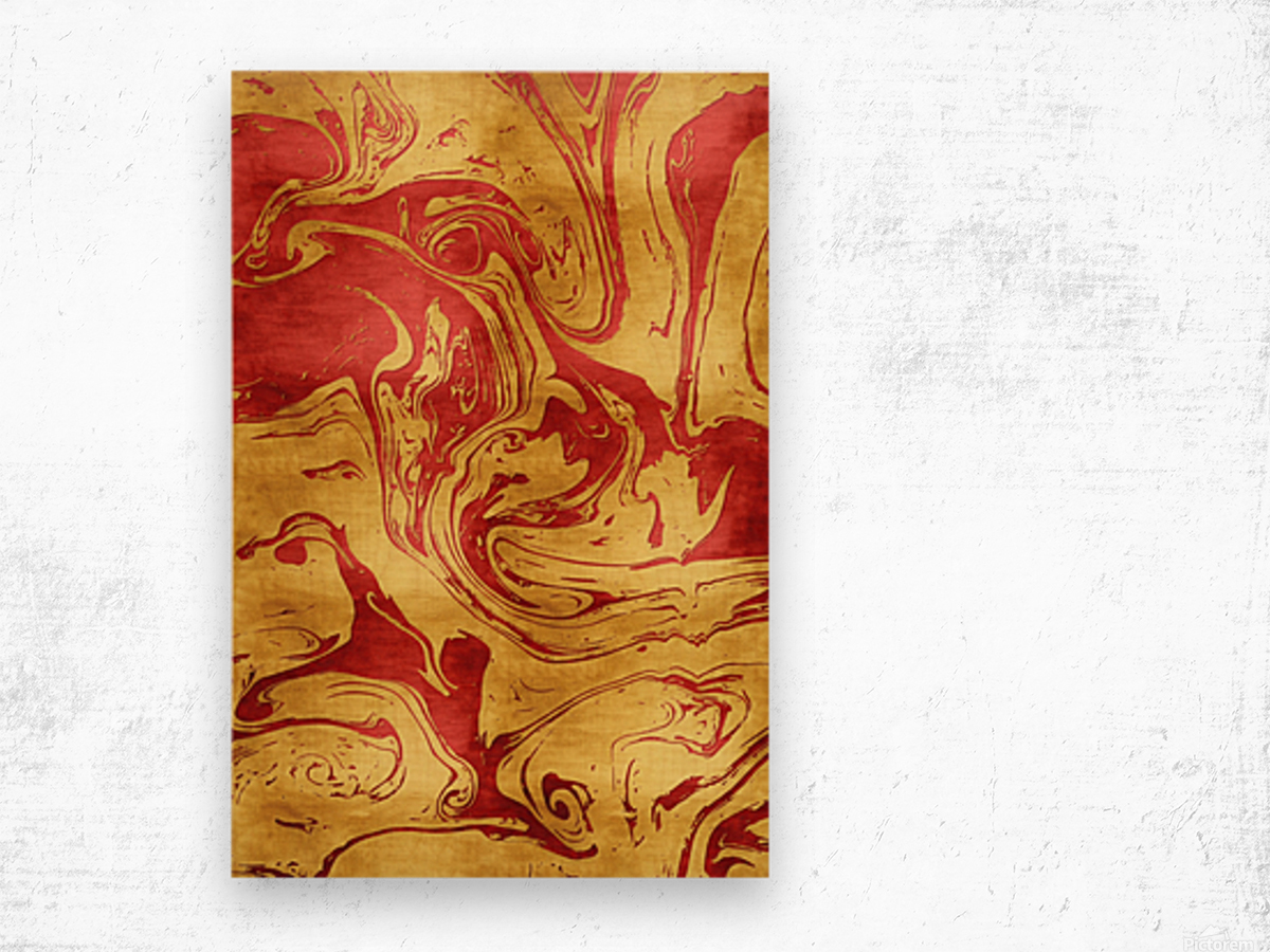Red Dragon Marble Wood print