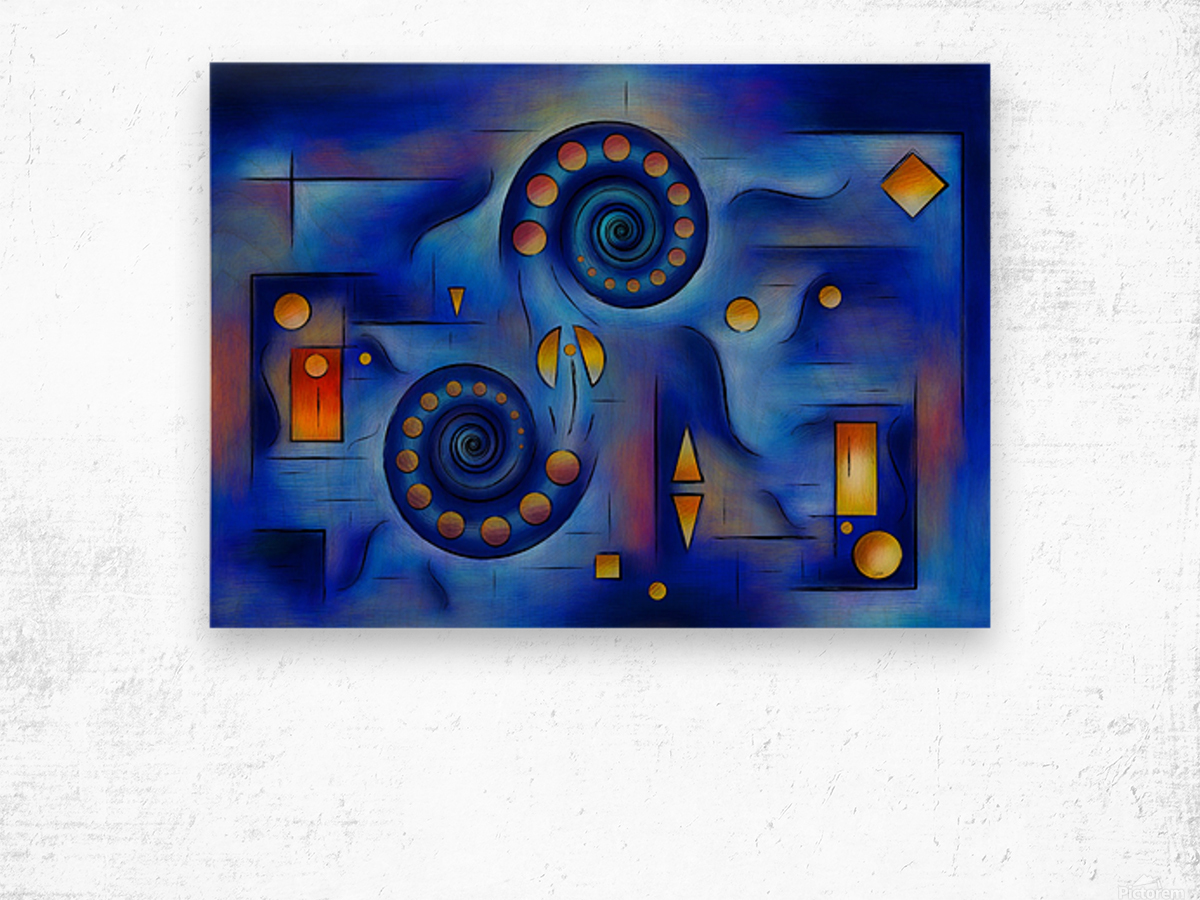 Grefenorium - blue spiral world Wood print