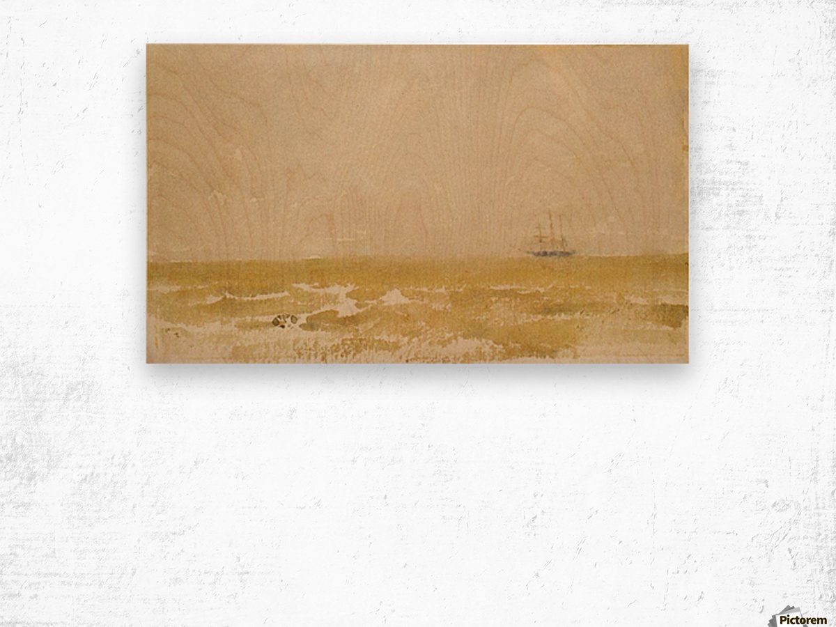 Seascape with Schooner by Whistler Wood print