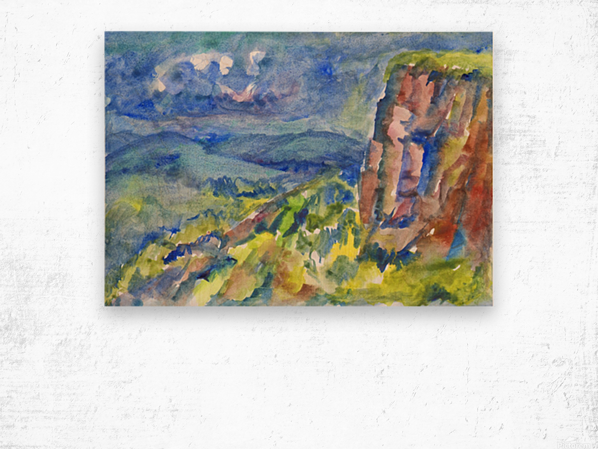 Summer landscape with cliff Wood print