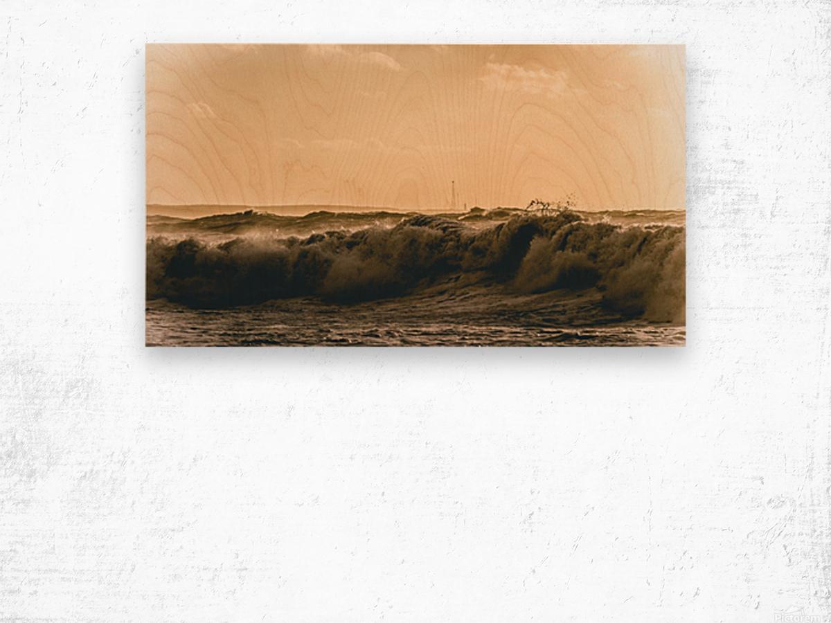 High seas and Light house Wood print