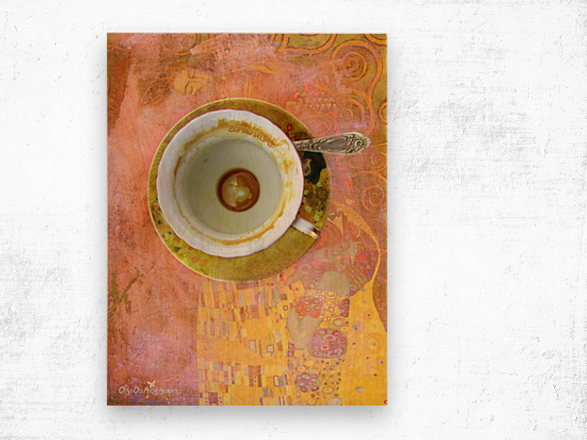 Coffee with Klimt Wood print