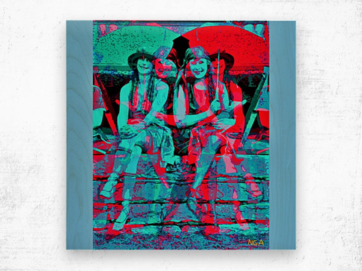The Umbrella Girls by neil gairn adams  Wood print