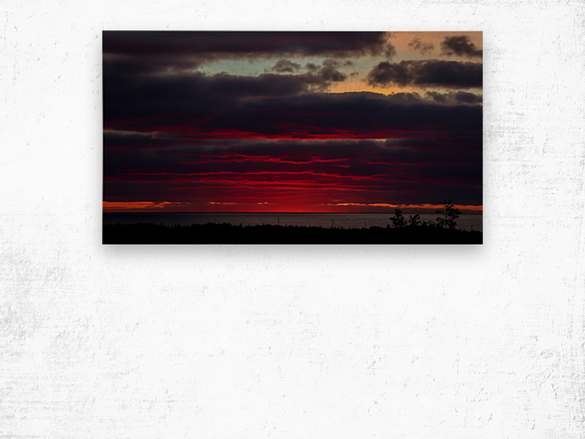 Blood red sunset Wood print