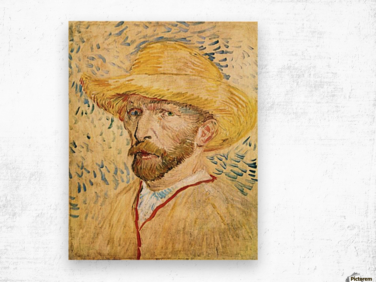 Self-Portait with straw hat by Van Gogh Wood print