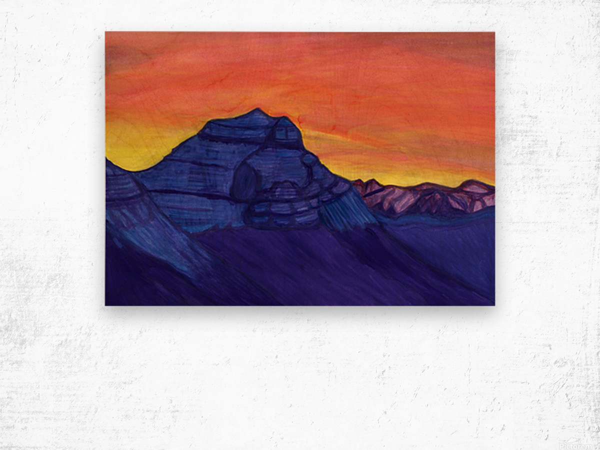 Stone Knight guarding the sacred mountain Wood print
