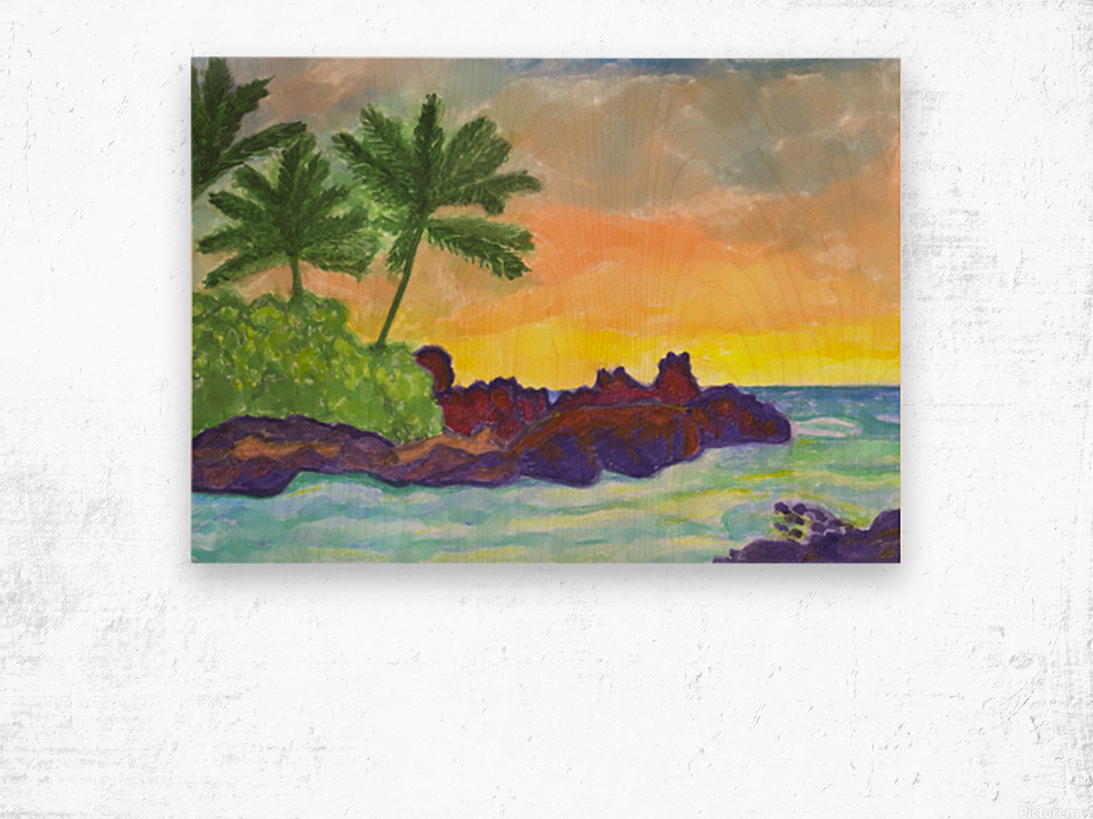 Tropical island in the ocean Wood print