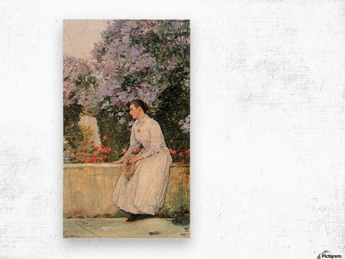 In the garden by Hassam Wood print