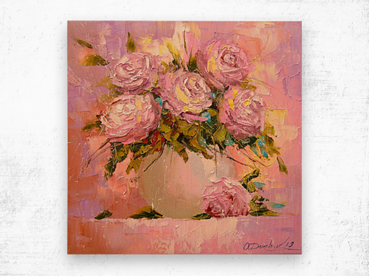 A bouquet of delicate roses Wood print