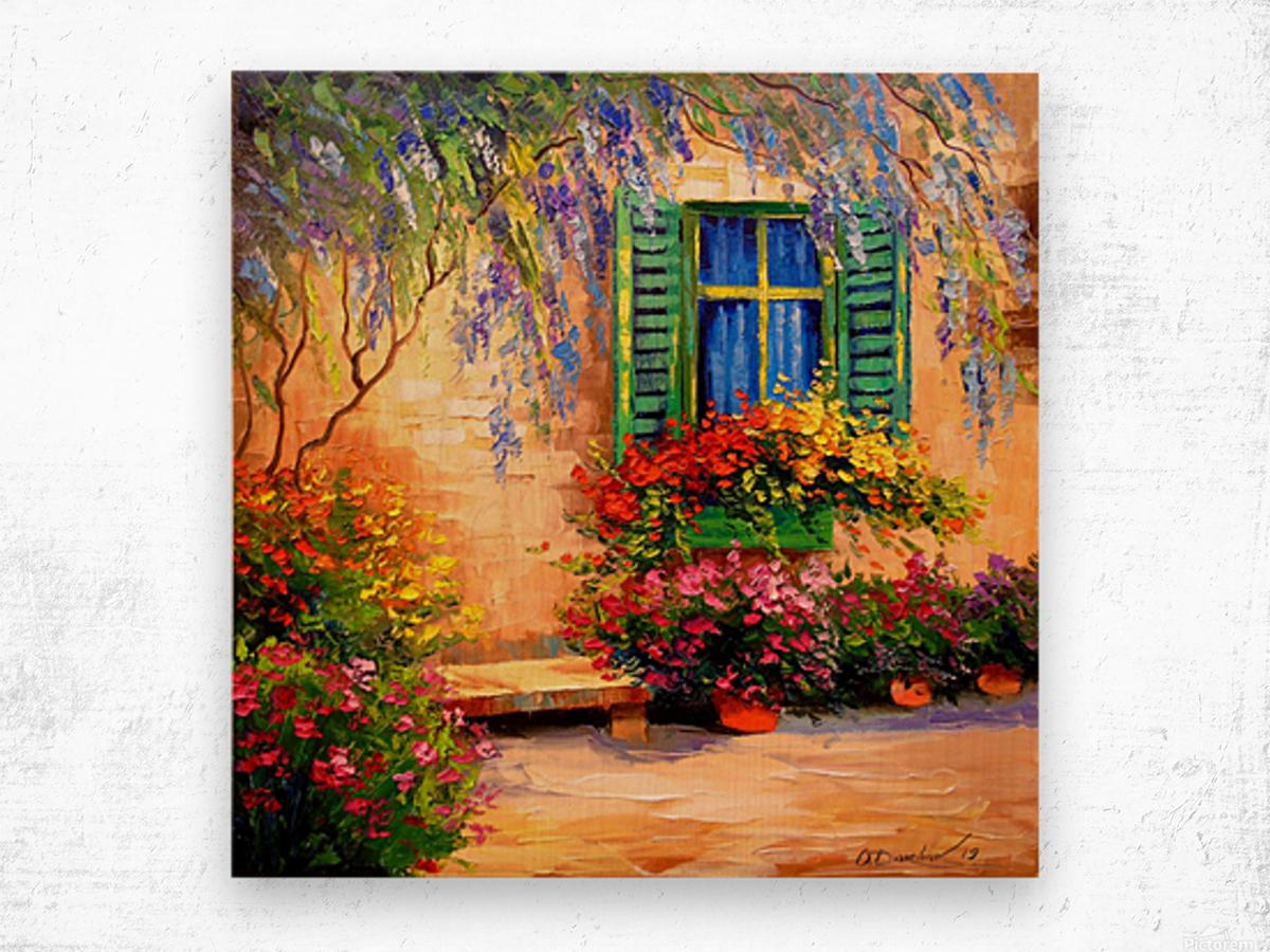 Blooming summer patio Wood print