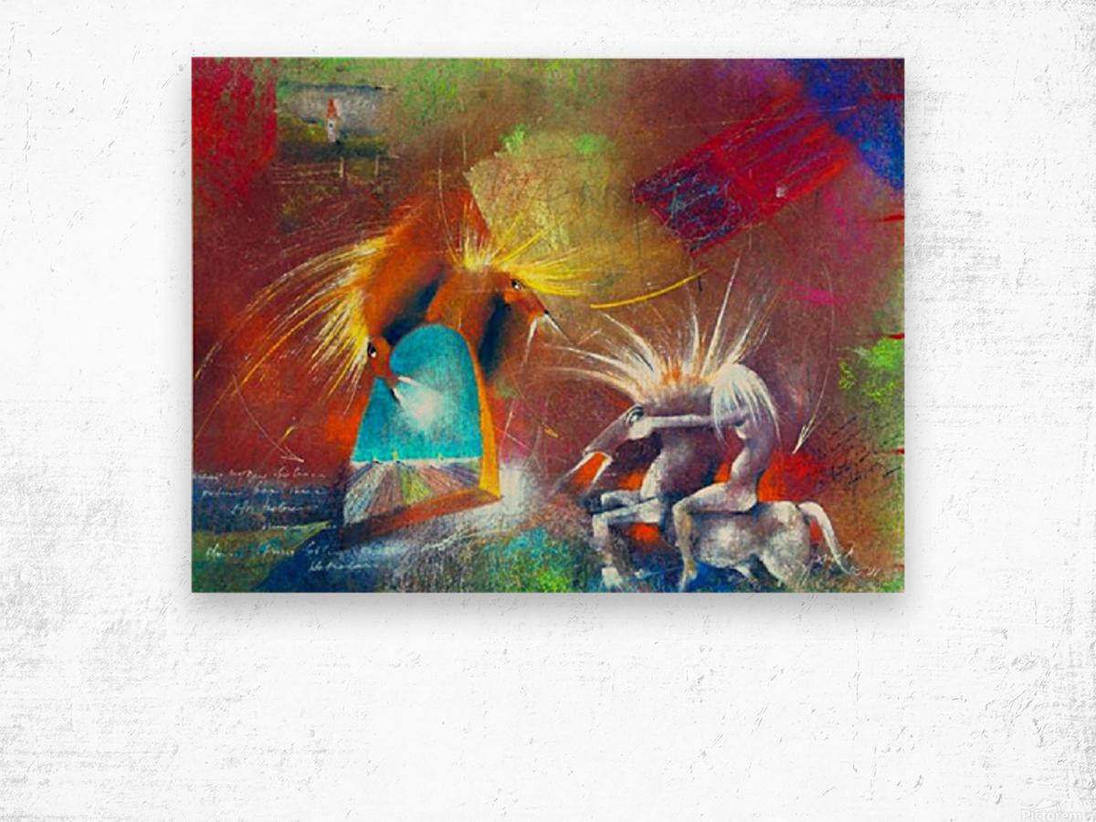 Fight of Dragon Horses Wood print