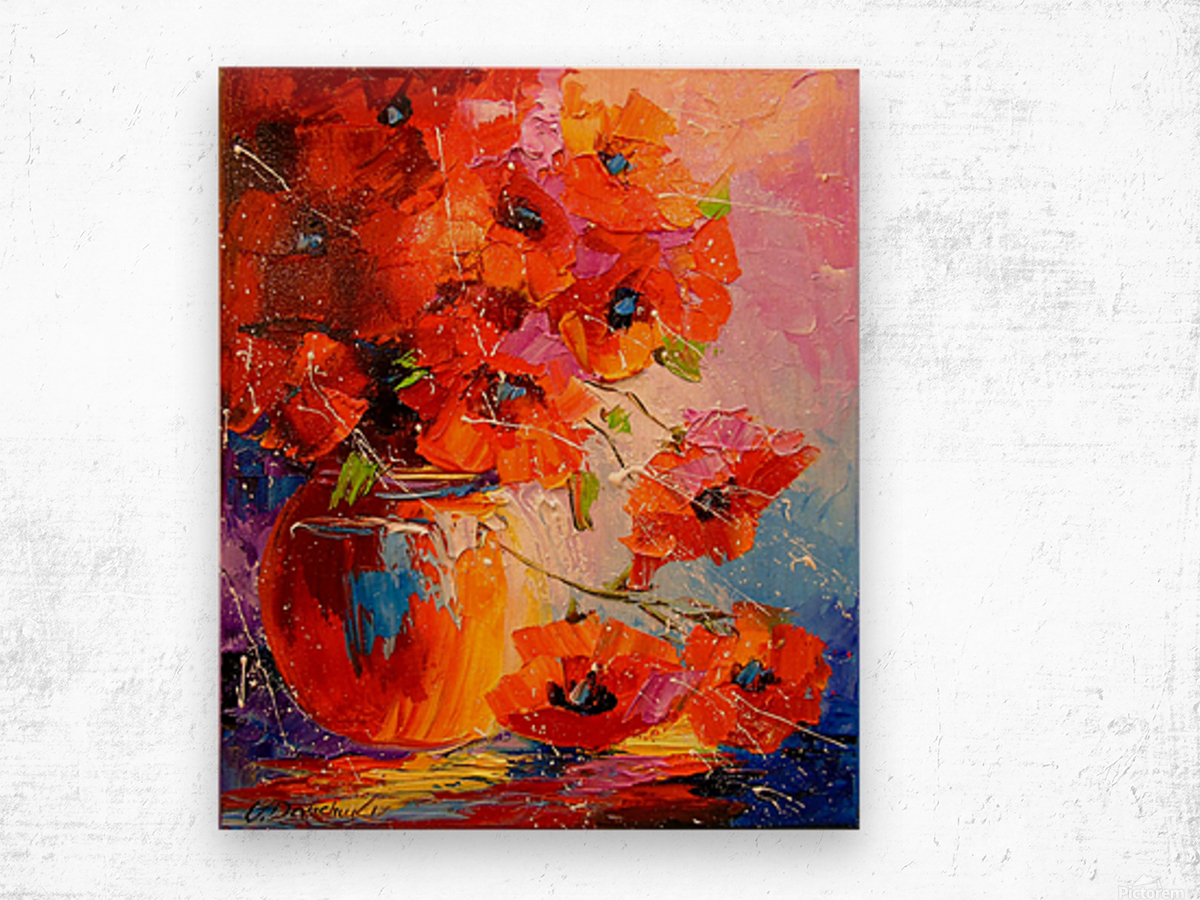 A bouquet of poppies Wood print