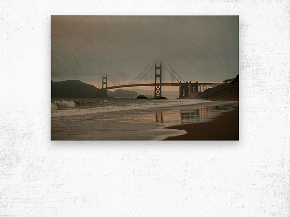 Golden Gate in the smog Impression sur bois