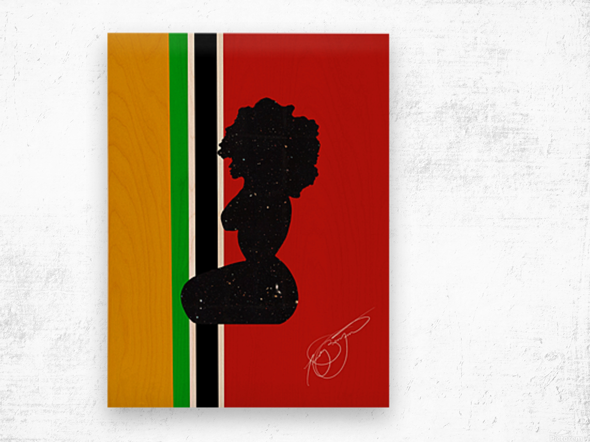 Afrocentric Woman Silhouette- African Flag Wood print
