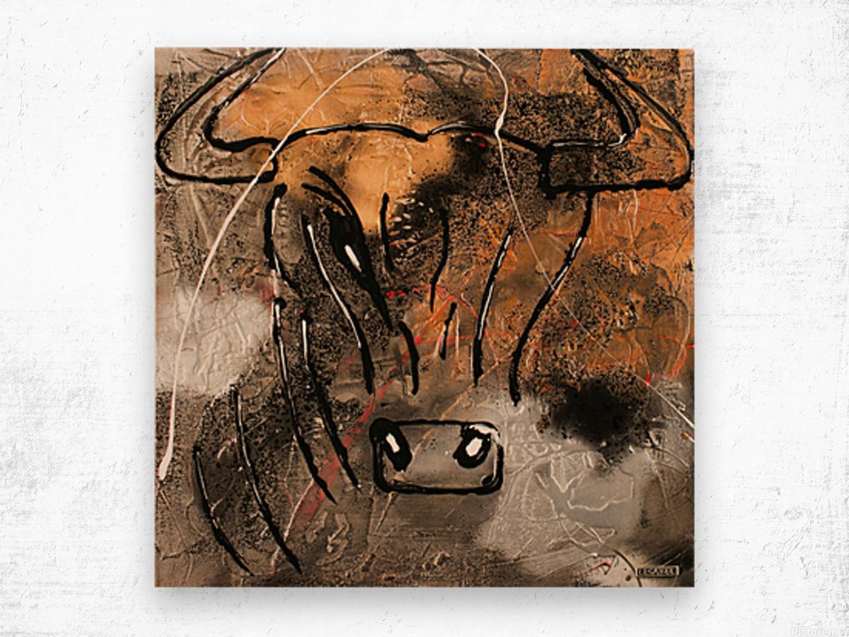 3754    gold bull Wood print