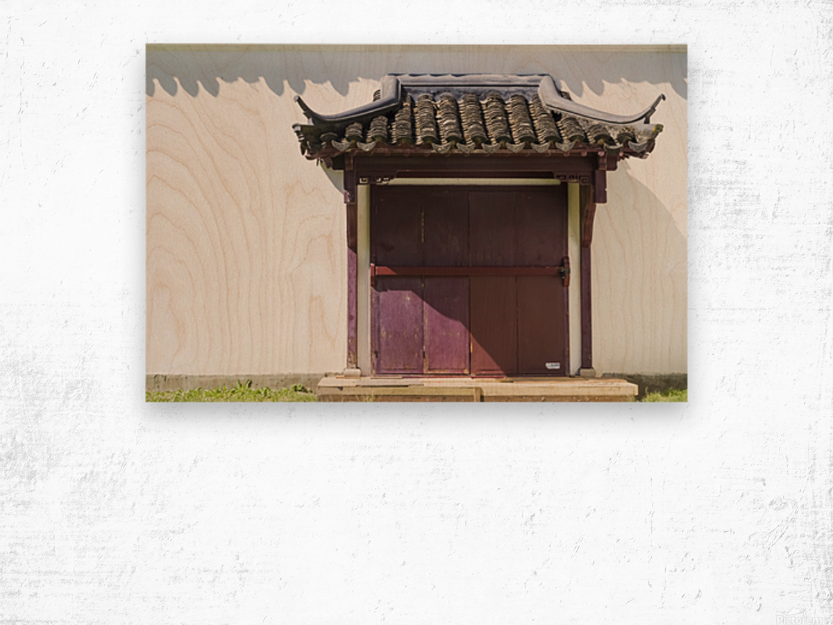 Asian Style Door and Portico Wood print
