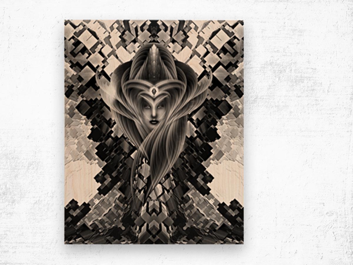 Mistress Of The Cuboid BW Wood print