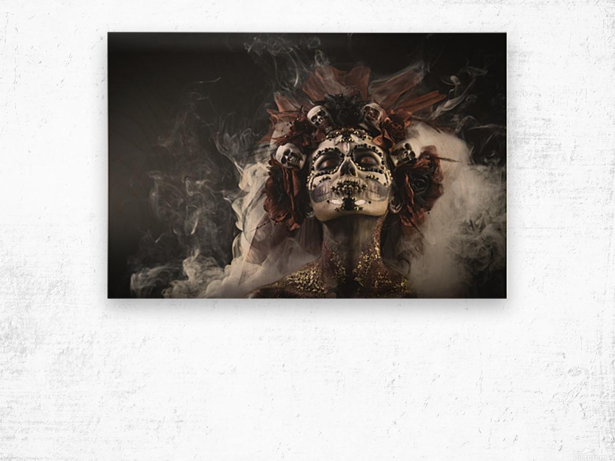 Young girl in the image of Santa Muerte Wood print