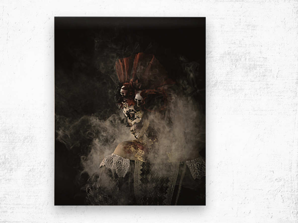 Young girl in the image of Santa Muerte Wood print