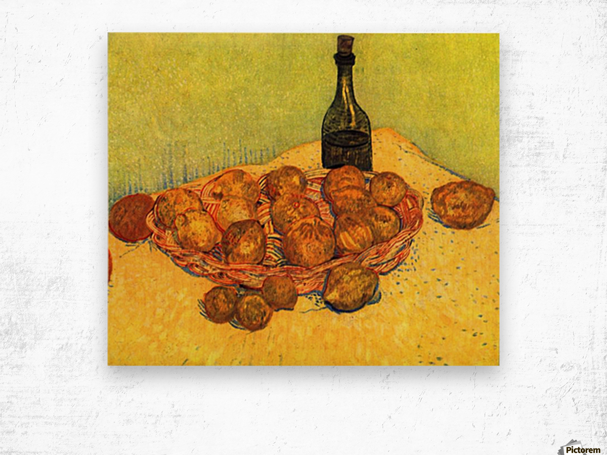 Still Life with Bottle, Lemons and Oranges by Van Gogh Wood print