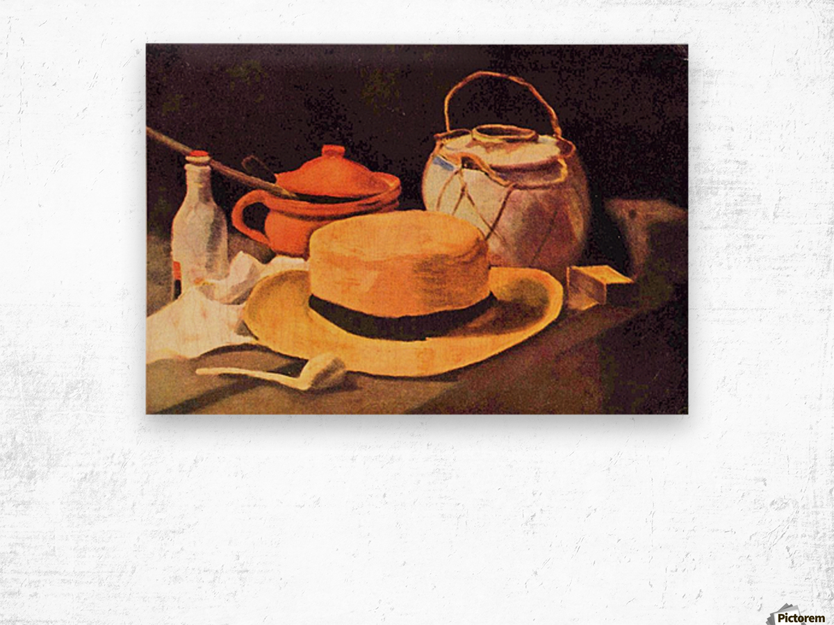 Still Life with Pipe and Straw Hat by Van Gogh Wood print