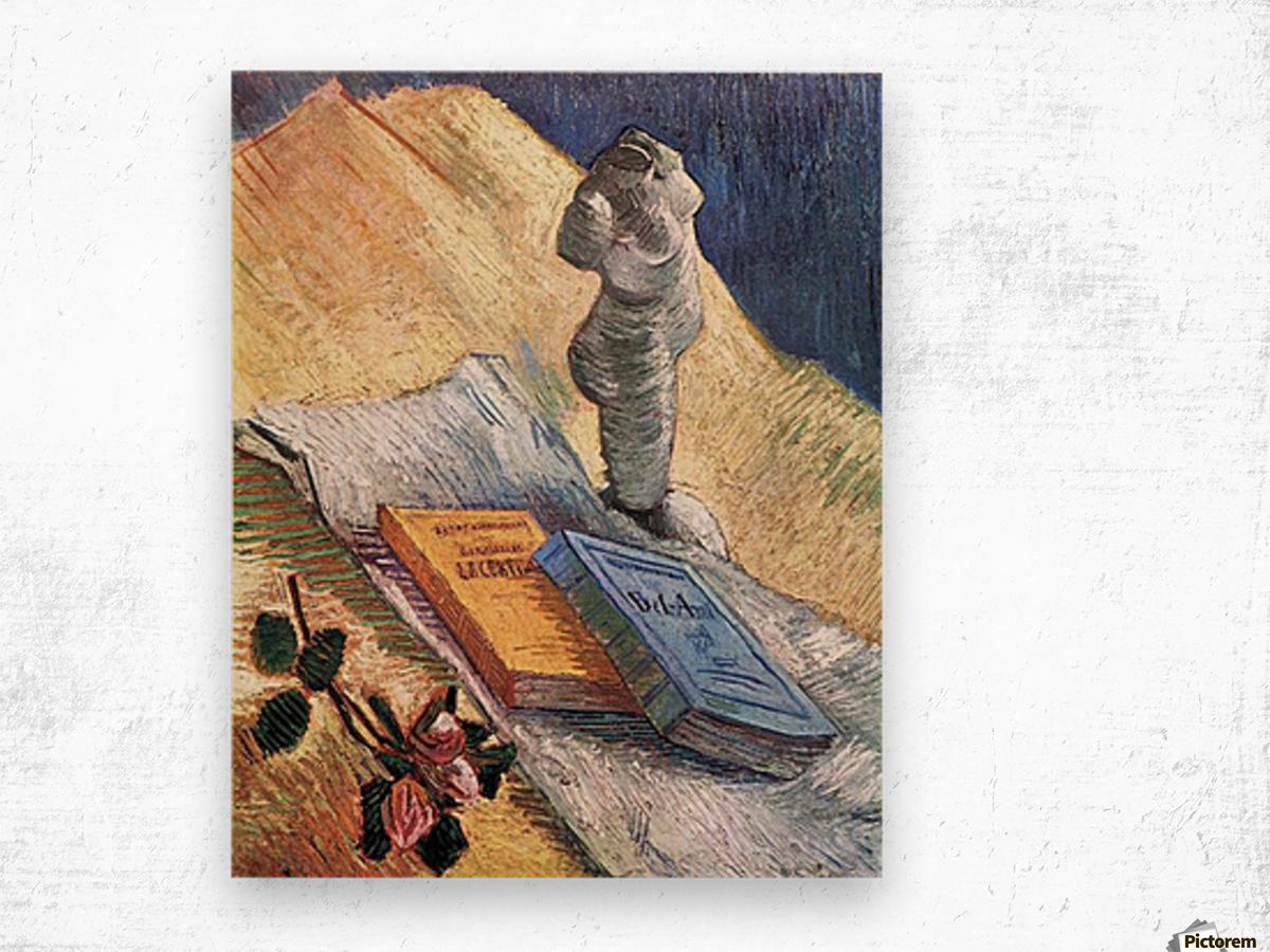 Still Life with torso, a rose and two novels by Van Gogh Wood print