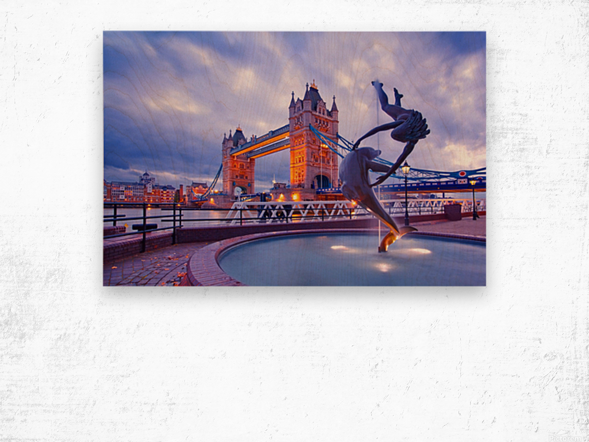 LON 014 Girl with  Dolphin and Tower Bridge Wood print