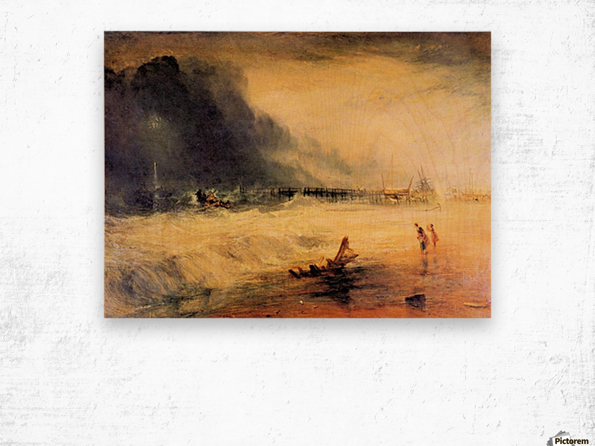 Stranded ship by Joseph Mallord Turner Wood print